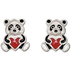 Clever joyas plateado pendientes pequeño oso panda 7x 6mm blanco y negro con corazón rojo lacado brillante plata de ley 925para niños
