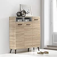 Maison Concept Oslo Cabinet, Beige and Grey - H 1344 x W 360 x D 1200 mm