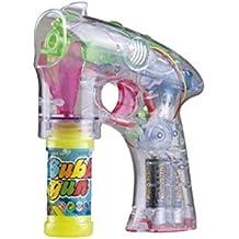 Pistola de burbujas con luz y sonido (incluye solución de 55 ml de la burbuja)