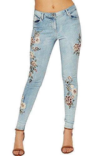 WEARALL Damen Niedrig Steigen Denim Jeans Damen Blumen Stickerei Dünn Fit Schaltfläche Tasche - Blau - 38 (Steigen Denim Taschen)