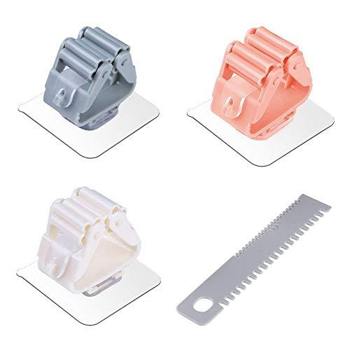 Dytj-broom scopa spazzole 1 set autoadesivo a parete senza cuciture mop pinza gancio di immagazzinaggio e ganci per scopa per portautensili da cucina bagno con raschietto