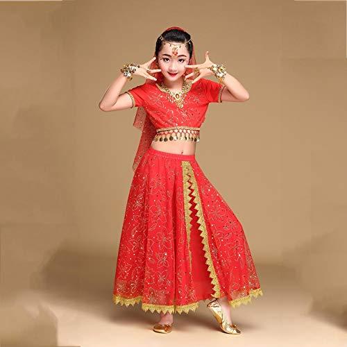 Kostüm Mädchen Bau - BZ-ZXS Bekleidung MäDchen RöCke - Kinder Bauchtanz Outfit KostüM Indien Dance Kleidung Top Professionelles Bauchtanzkleid,Rot,M
