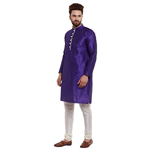 Sojanya Dupion Seide Kurta Churidaar Set Herren Bollywood Traditional Wear (Set Seide Kurta)