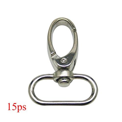 Pixnor Drehgelenk Verschlüsse 15Stück 360Grad Oval Ring Karabinerverschluss Swivel Trigger Snap Haken (Silber) -