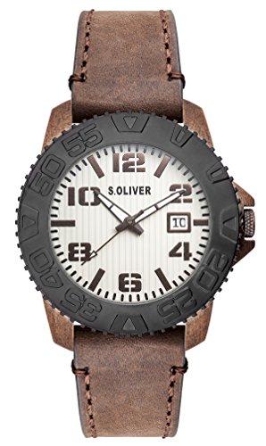 s.Oliver SO-2934-LQ - Reloj de cuarzo para hombre, con correa de cuero, color marrón