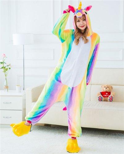 Imagen de mh rita cosido animal mayorista unicornio oso panda koala pikachu onesie adulto unisex cosplay disfraces ropa para dormir pijamas para hombres mujeres ,rainbow unicorn 2,m
