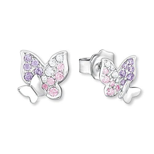 Prinzessin Lillifee Mädchen-Ohrstecker Schmetterling 925 Sterling Silber Zirkonia weiß rosa lila
