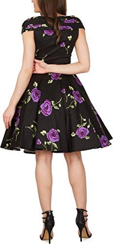 Black Butterfly 'Enya' Vintage Infinity Pin-up-Kleid Große Lila Rosen