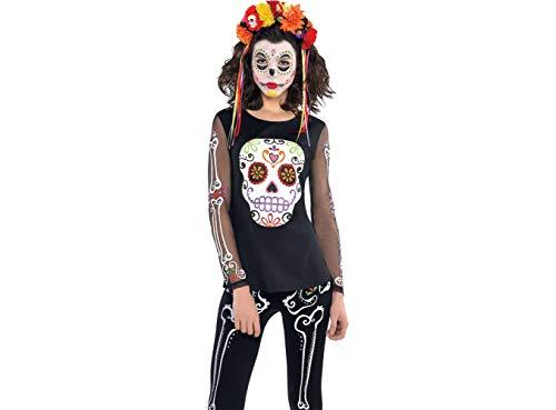Tag der Toten Muertos T-Shirt Kostüm Accessoire - Mardi Gras Kostüm Accessoires