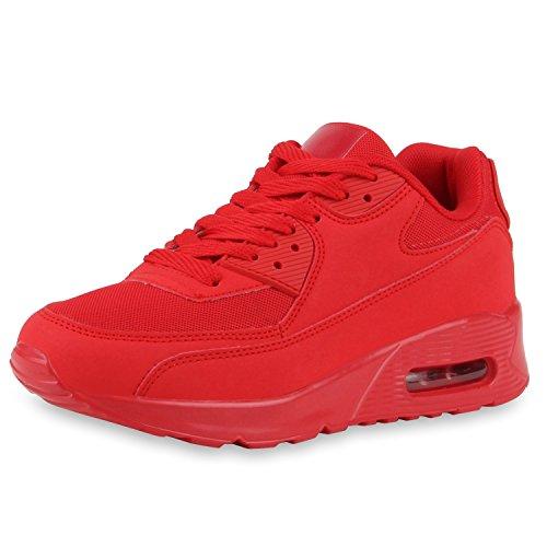 Knallige Damen Herren Unisex Sportschuhe | Auffällige Neon-Sneakers | Sportlicher Eyecatcher für Ihren Alltags-Look | Angenehmer Tragekomfort | Gr. 36-45 Rot
