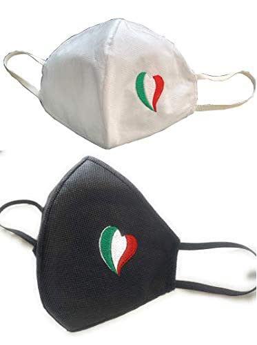 Set di 2 mascherine ricamate cuore Italia