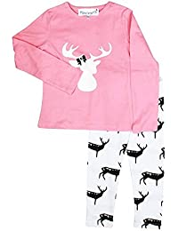 FUNKRAFTS Girls Reindeer Print Pink/White Night Suit