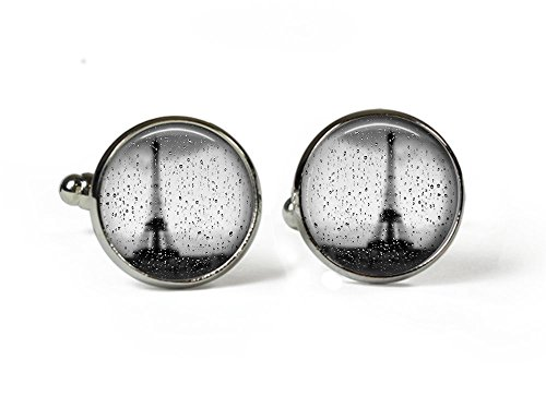 Paris im Regen–Glas Bild Manschettenknöpfe–Silber vergoldet (Art Foto P22)