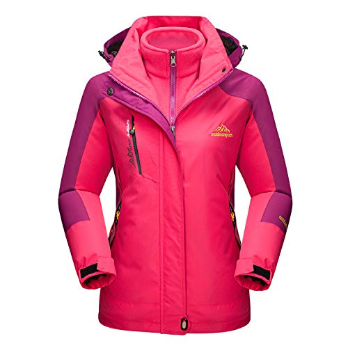 MAGCOMSEN Magcommen Damen Outdoor 3-in-1 Wasserdichte Skijacke Snowboardjacke Fleece Warm Regenmantel, Damen, Rose, X-Small (Damen Ski-jacke Xsmall:)