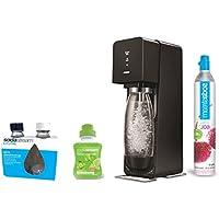 Sodastream SOURCE Machine à eau pétillante et soda noire + pack 2 bouteilles Fuse 0.5L + 1 concentré limonade 500ml