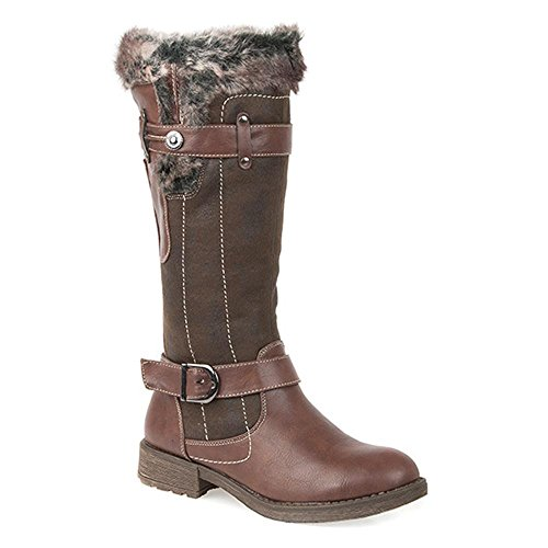 Pavers Long Boot with Faux Fur Trim 303 692 - Dark Brown Size 7
