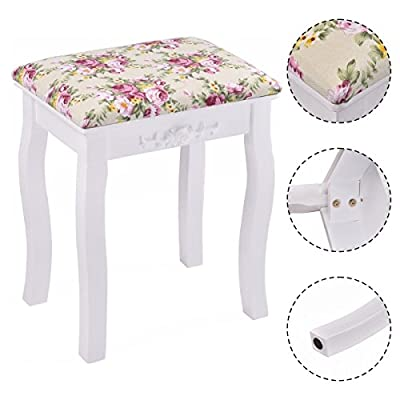 Costway Rose Vintage Dressing Table White Flower Stool Padded Piano Chair Makeup Seat Baroque produced by Costway - quick delivery from UK.