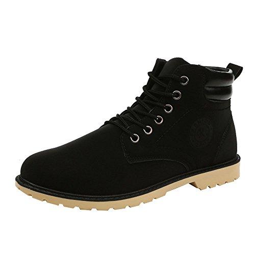 Martin Bottes Homme, Manadlian Bottes et Bottines Classiques Homme Chaudes Sole Lacets Hiver Neige Bottes Couleur Unie Chaussures 39-44