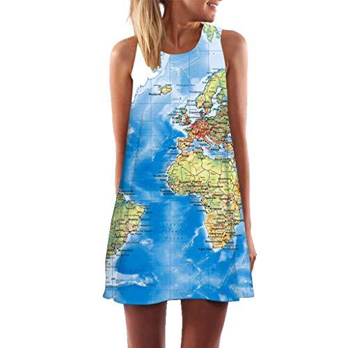 Mini Mode Bunt Muster Ärmellos Minikleid Blusenkleid Sommerkleid Strandkleid Clubkleid Partykleid Cocktailkleid Strassenmode Tunika Kleider Freizeit Kleid ()