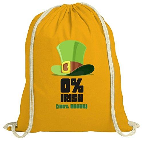 Saint Patrick´s Day St. Patricks Day natur Turnbeutel mit 100% Drunk Motiv gelb natur