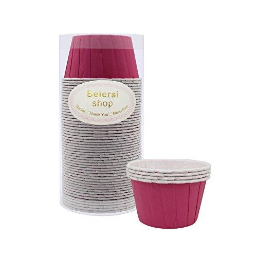 Beiersi 50Pcs Papier Kuchen Tasse Cupcake Fällen Liner Muffin Hohe Temperaturbeständige Backen Tassen (Rose Rot)