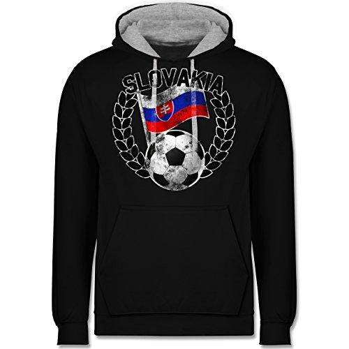 Fußball - Slovakia Flagge & Fußball Vintage - Kontrast Hoodie Schwarz/Grau Meliert