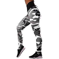 MEIbax Leggings Deportes Pantalones para mujeres de Camuflaje Estampado de Cintura Alta Gimnasio Athletic Entrenamiento Fitness Gym Skinny Mallas de elásticas Pantalón Largo de Running Yoga