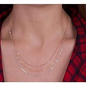XUHAHAXL Halskette/Einfache Legierung Multi Layer Dekoration Gold Und Silber Gemischt Quaste Kette Kette Halskette