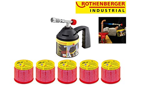 ROTHENBERGER Industrial RoFlame Economy Löt Lampen Set inkl. 5 Gas Kartuschen - 1000000985