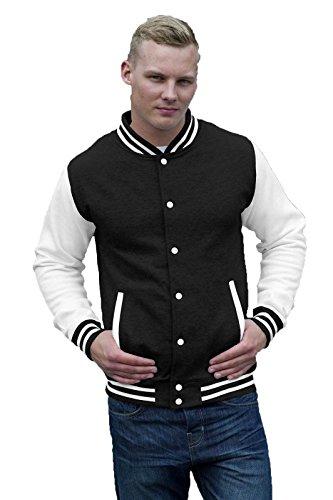 Felpa College Uomo Giacca Baseball Awdis Varsity Jacket Maniche A Contrasto, Colore: Nero Bianco, Taglia: L
