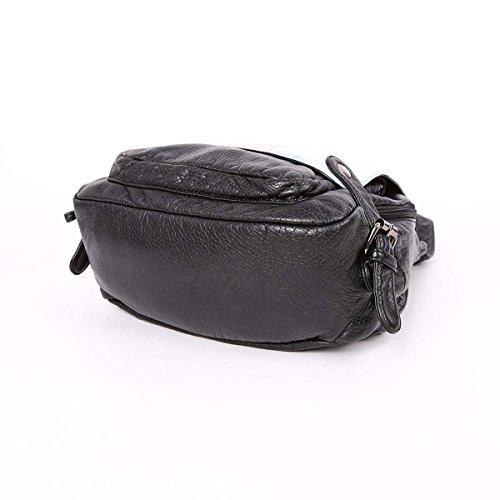 Angelkiss Stampa Digitale lavato PU borse a spalla Zaino in pelle K15631/5 Nero B