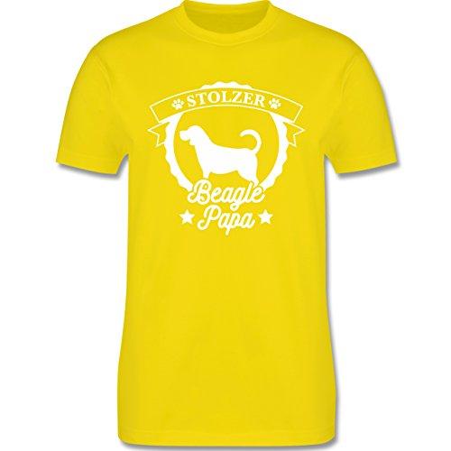 Shirtracer Hunde - Stolzer Beagle Papa - Herren T-Shirt Rundhals Lemon Gelb