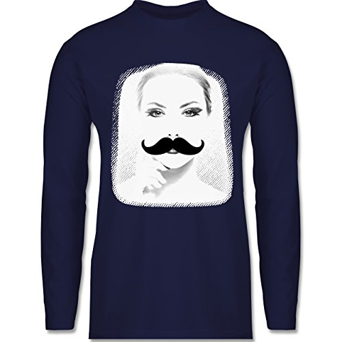 Shirtracer Hipster - Frau Moustache - Herren Langarmshirt Navy Blau