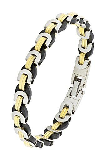 Italienische Designer Biker 18K Gold Rhodium 316L chirurgischer Edelstahl Armreif Armband für Jungen Herren