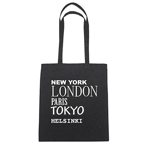 JOllify Helsinki di cotone felpato b4663 schwarz: New York, London, Paris, Tokyo schwarz: New York, London, Paris, Tokyo