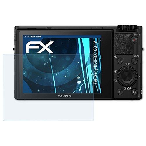 atFoliX Schutzfolie kompatibel mit Sony DSC-RX100 IV Panzerfolie, ultraklare & stoßdämpfende FX Folie (3X)
