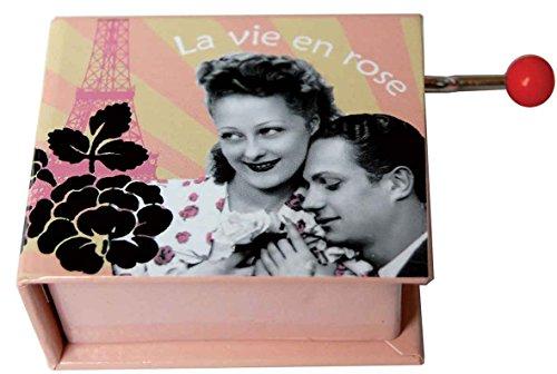 Caja de musica con Libro manivela y melodia de La Vie En Rose