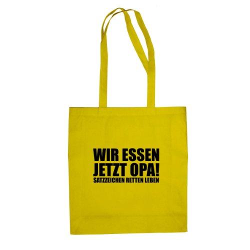 Satzzeichen retten Leben - Stofftasche / Beutel Gelb