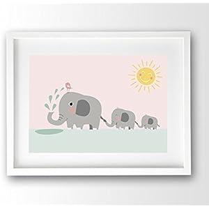 Kinderposter ungerahmt, Elefanten Familie pastellfarben