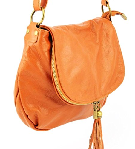 SUPERFLYBAGS Borsa Donna a Tracolla in vera pelle morbida modello Mada MEDIA Made in Italy cognac