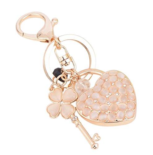 dylandy Schlüsselanhänger Herzform Four Leaf Clover Schlüssel Ring Zink Legierung Schlüsselanhänger Halter Handtasche Anhänger für Frauen Mädchen (weiß), Legierung, Style A, 12.5 * 5 * 4cm -