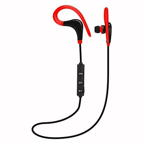 Cuffie wireless bluetooth, magiyard cuffie stereo senza fili cuffia del auricolare di bluetooth degli sport per il iphone rosso rosso 100cm