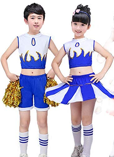 Schule Aerobic Kostüm - SMACO Spiele-Cheerleader, Kinder-Cheerleader-Performances, Aerobic-Kostüme für Kinder,Blue,120CM