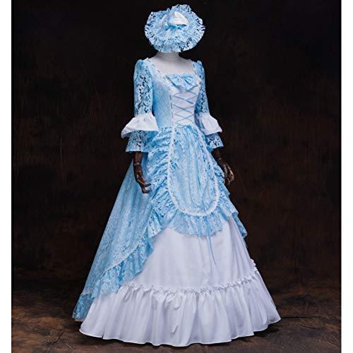 QAQBDBCKL Blaue Spitze mittelalterlichen Kleid mit Hut Renaissance Kleid Königin Kleid Kostüm viktorianischen Marie Antoinette/Bürgerkrieg/Colonial Belle Ball (Marie Antoinette Sexy Kostüm)