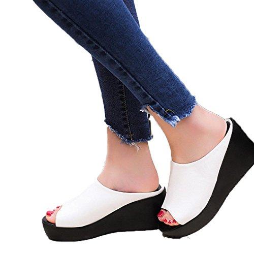 SamMoSon Pantofola Estate Moda  Tempo Libero Pesce Bocca  Sandali di Spessore Parte Inferiore Pantofola Flip Flop Sandalo Bianca