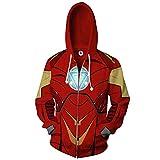CLOTHING Felpa con Zip E Cappuccio Iron Man con Stampa 3D A-+L