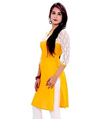 Prabhat Silk Mills Women's Yellow Cotton Kurti - Yellow Wash care:- Hand Wash in cold water & Dry Clean Only