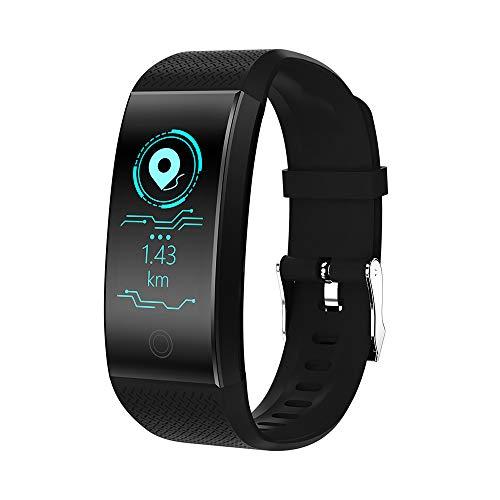 JiaMeng Reloj de presión Arterial QW18 Smart Watch Sports Fitness Activity Rastreador de frecuencia cardíaca(Negro)