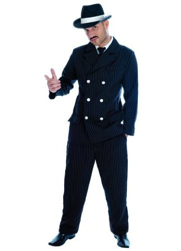 GANGSTER Adult Fancy Dress Costume All Sizes