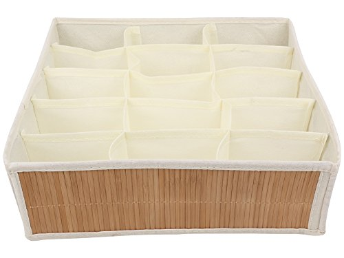 Miamour Bamboo Storage Organizer, 15 Pockets, White